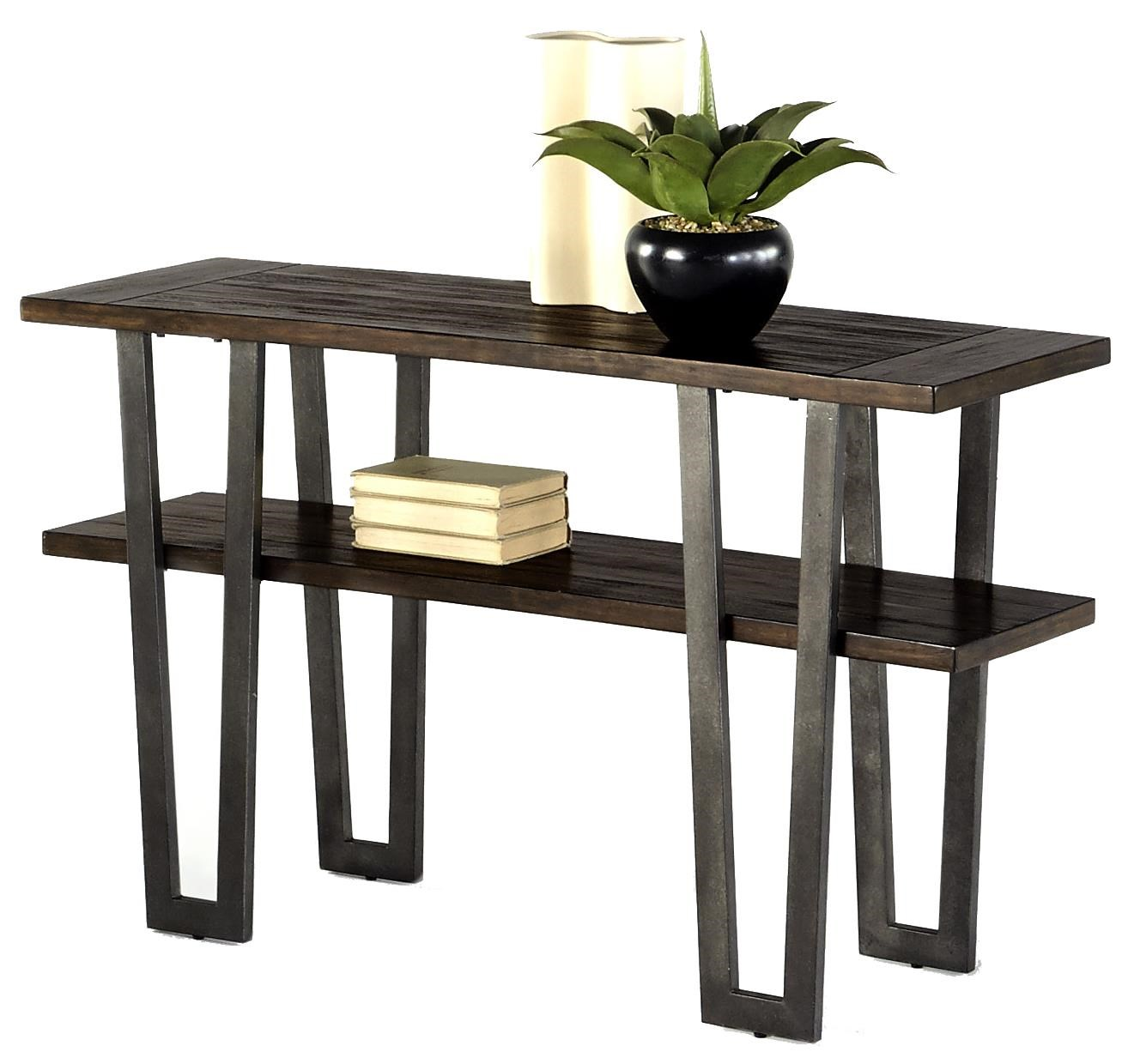progressive furniture sedona modern rustic sofa table with weathered elm wood and metal legs