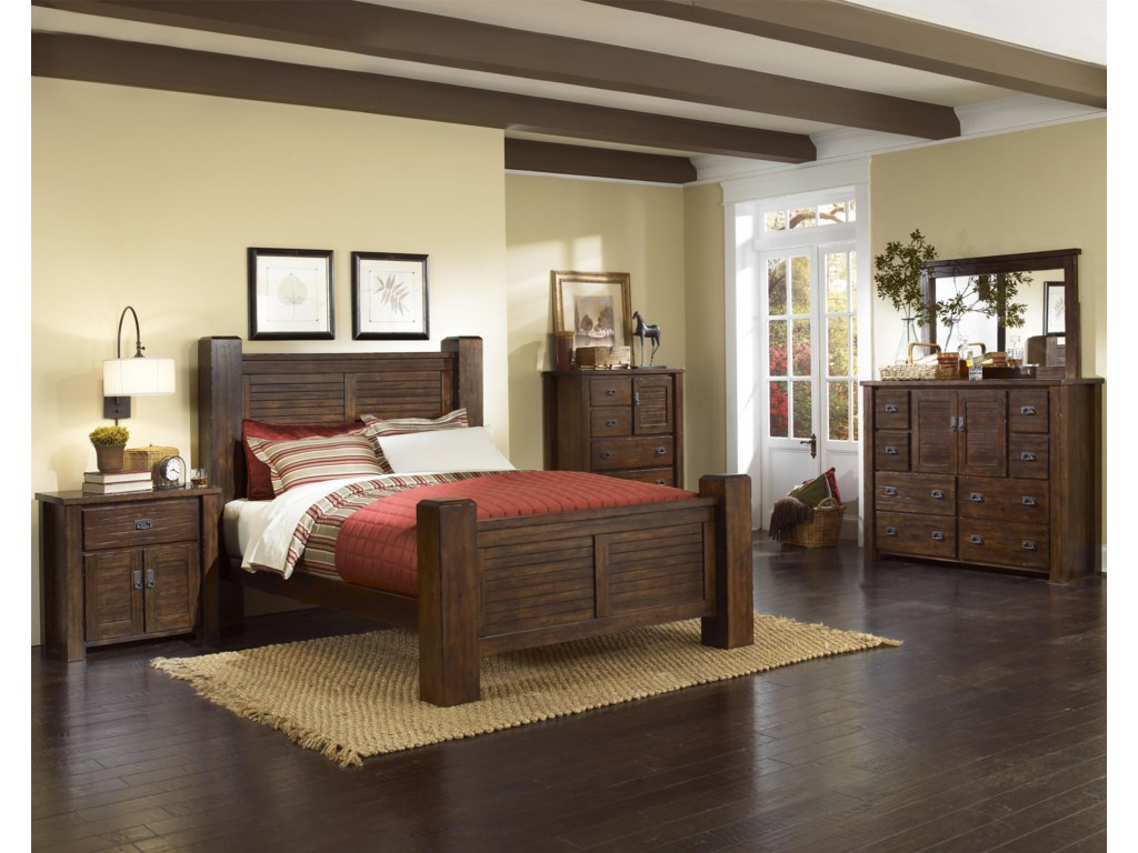 Nightstand Shown in Room Setting with Bed, Chest, Dresser and Mirror
