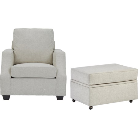 Chair & Castered Storage Ottoman