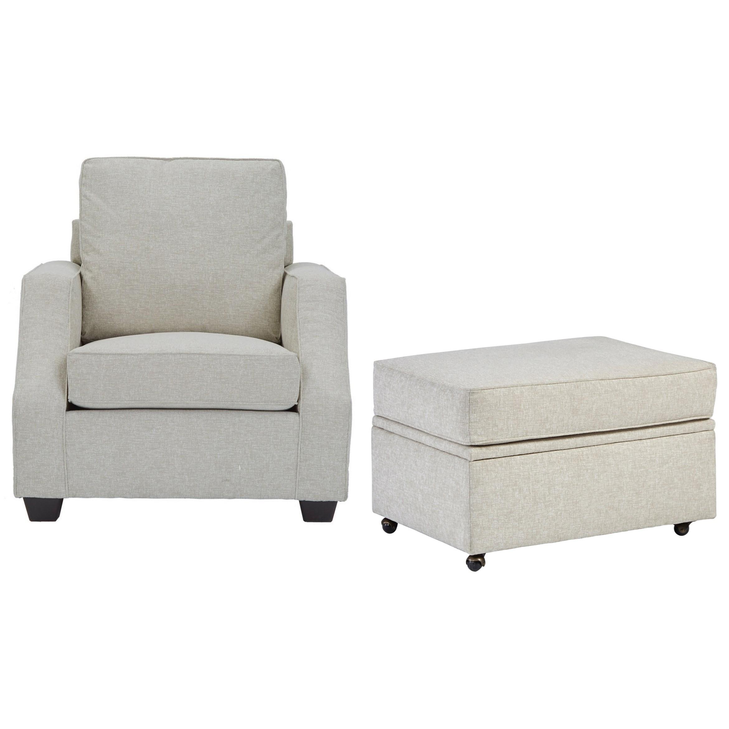 Progressive Furniture HadleyChair u0026 Castered Storage Ottoman ...  sc 1 st  Hudsonu0027s Furniture & Progressive Furniture Hadley Chair with Sloped Track Arms u0026 Castered ...
