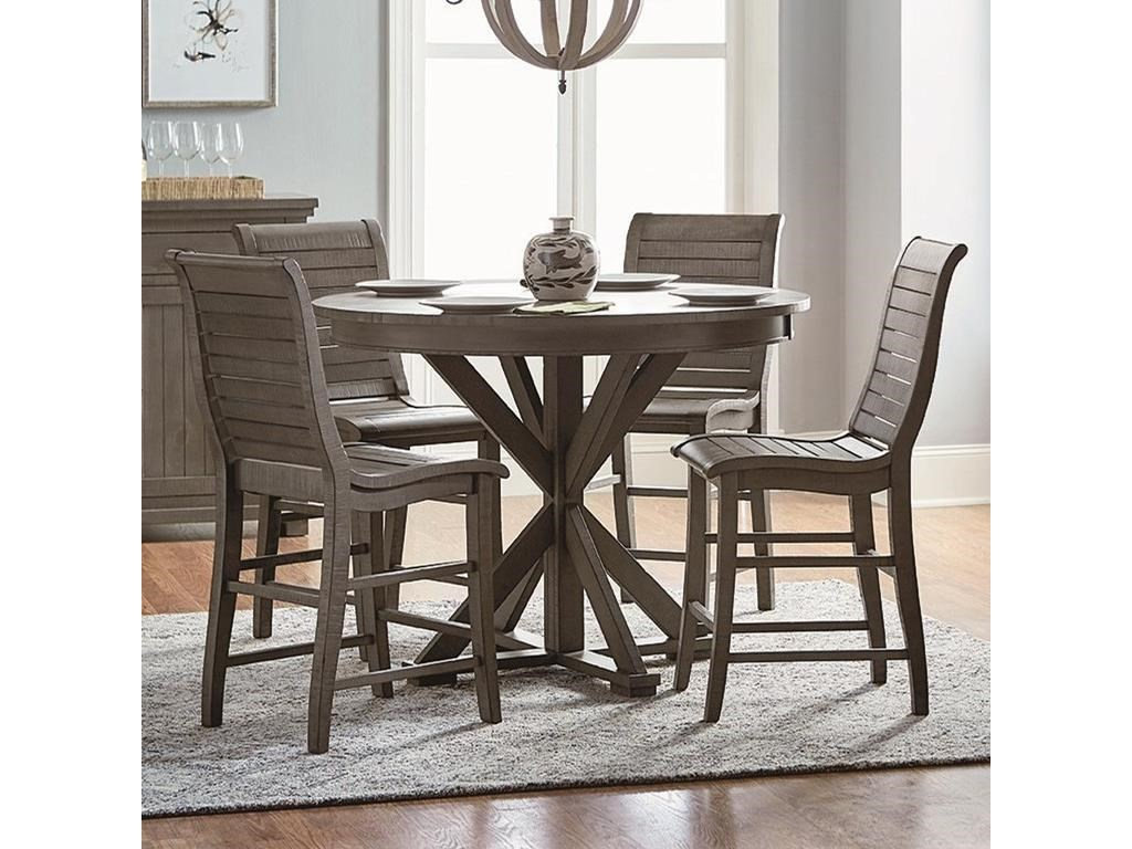 Progressive Furniture Willow Dining 5 Piece Round Counter Height Table Set Wayside Furniture Pub Table And Stool Sets