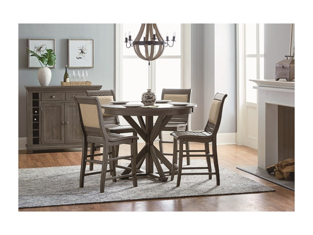 Progressive Furniture Willow Dining5-Piece Round Counter Height Table Set