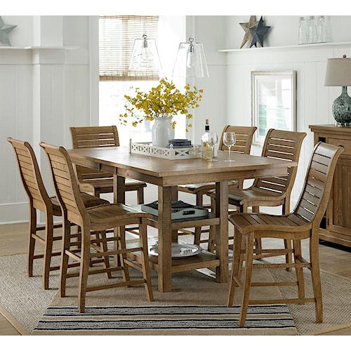 Progressive Furniture Willow Dining 7 Piece Rectangular Counter Height Table Set Boulevard