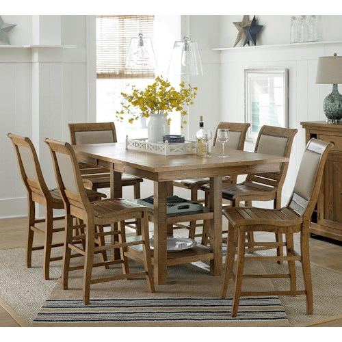 Progressive Furniture Willow Dining 7 Piece Rect Counter Height Table Set Northeast Factory
