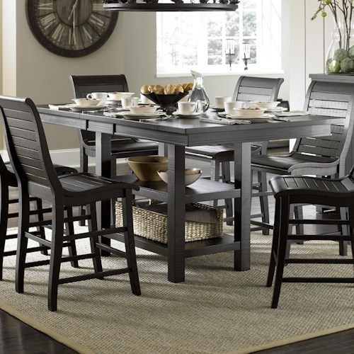 Progressive Furniture Willow Dining Distressed Finish Rectangular Counter Height Table With 2 Shelves