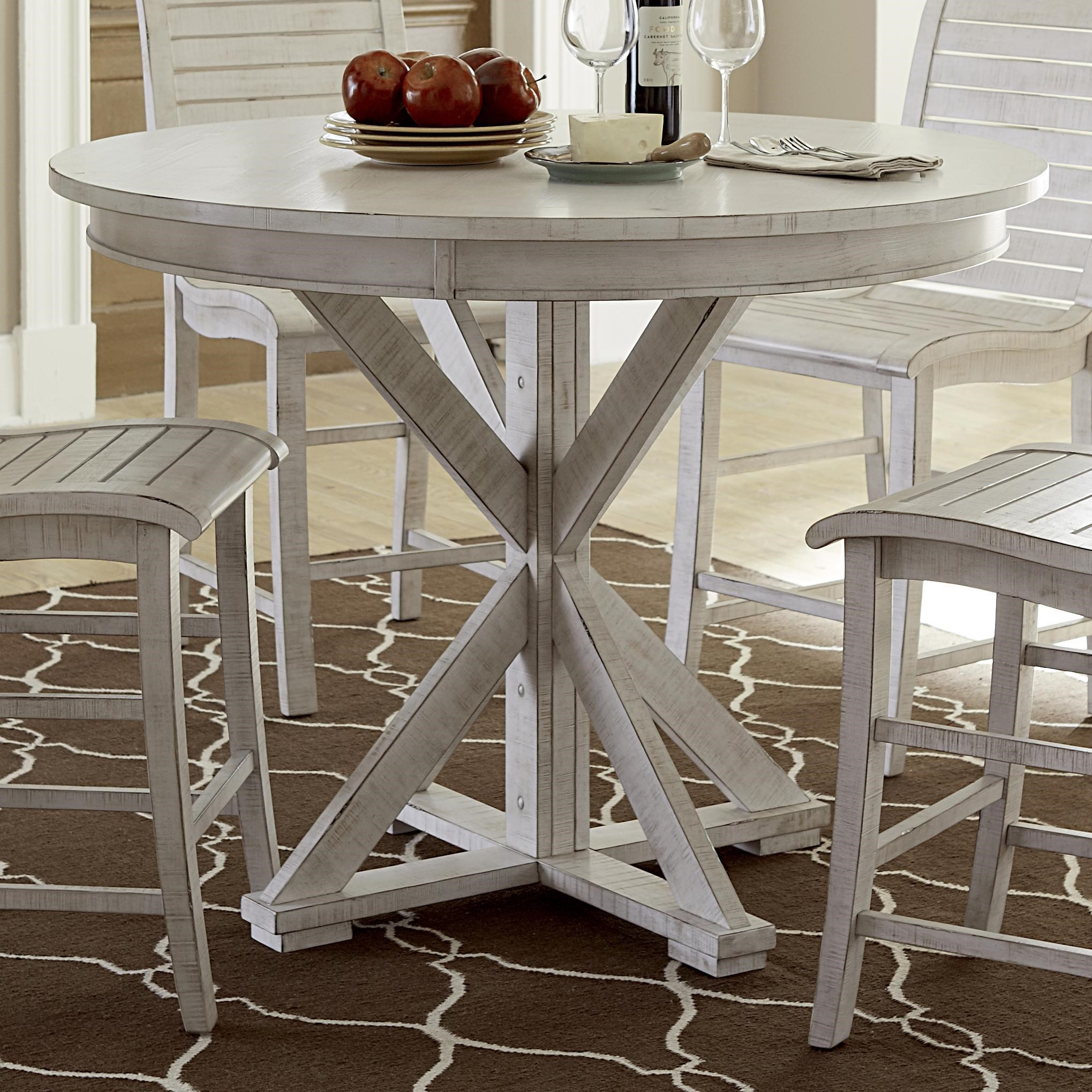 Progressive Furniture Willow Dining Distressed Finish Round Counter Height  Table