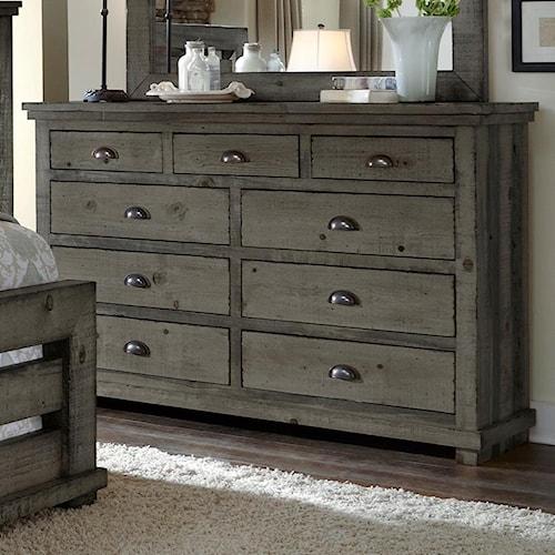 Progressive Furniture Willow Distressed Pine Drawer Dresser