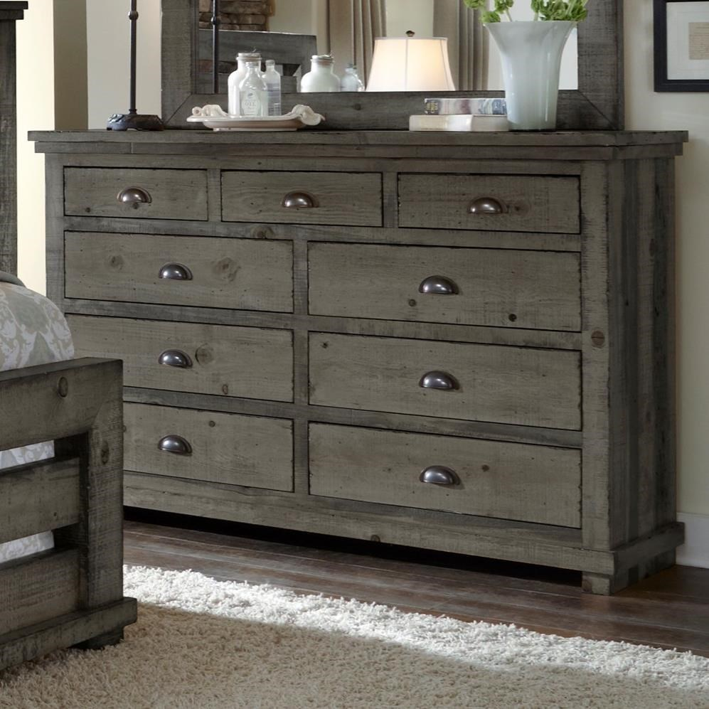 Beau Progressive Furniture Willow Distressed Pine Drawer Dresser