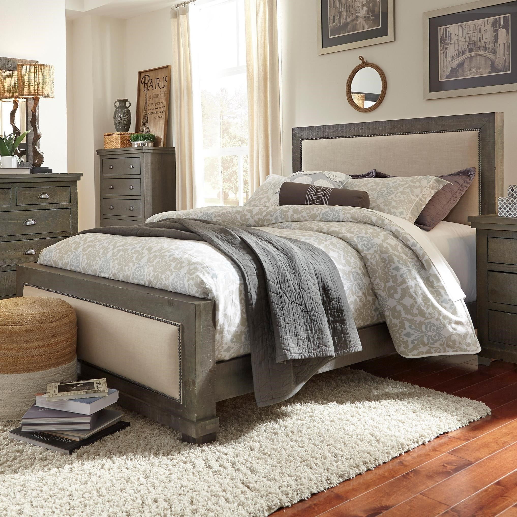 Progressive Furniture Willow Queen Upholstered Bed With Distressed Pine  Frame   Miskelly Furniture   Upholstered Beds