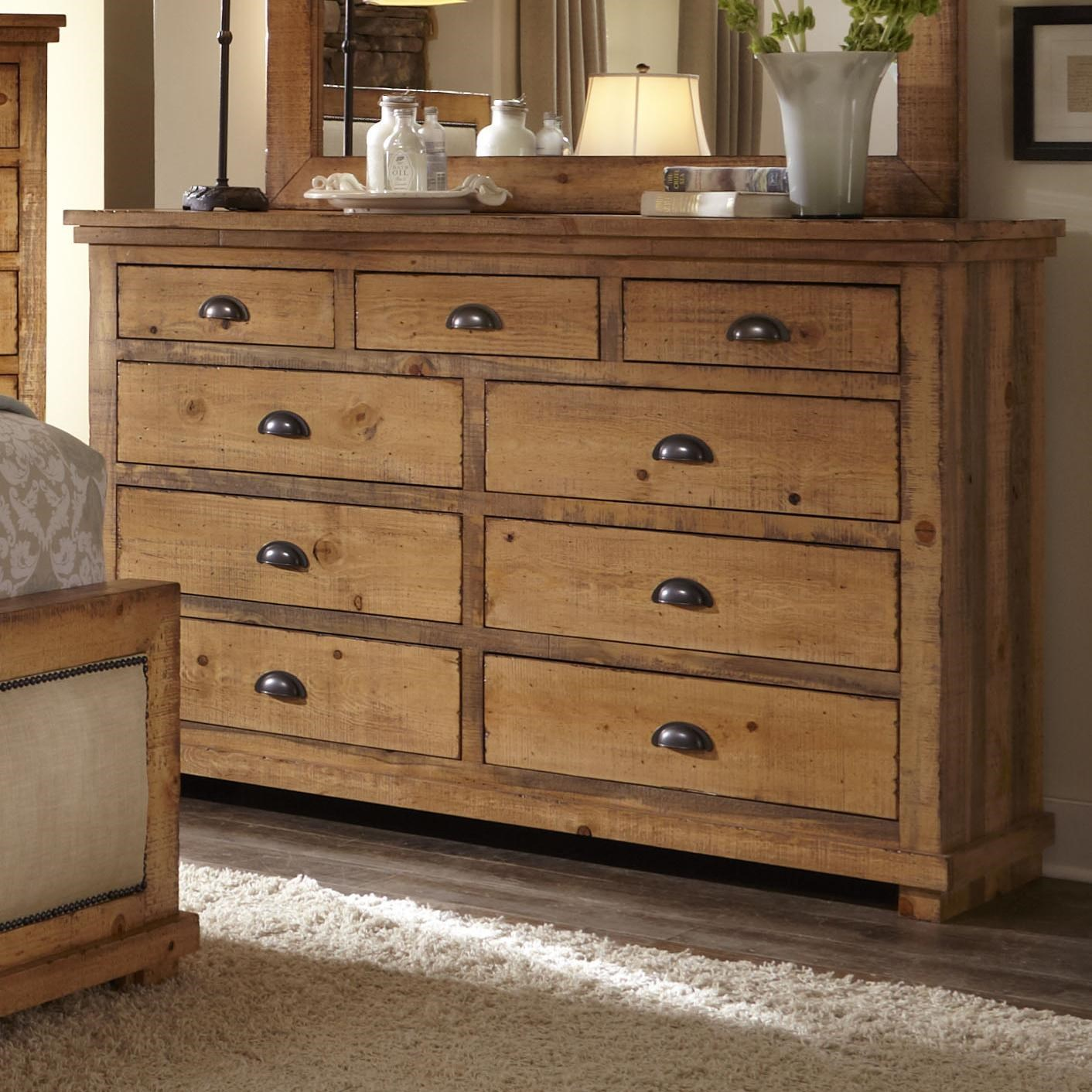Charming Progressive Furniture Willow Distressed Pine Drawer Dresser