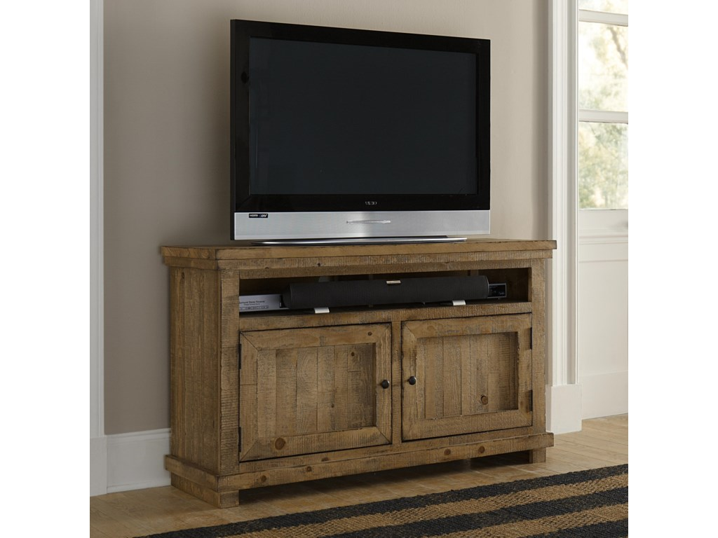 Progressive Furniture Willow Small 54 Distressed Pine Media Console Miskelly Tv Stands