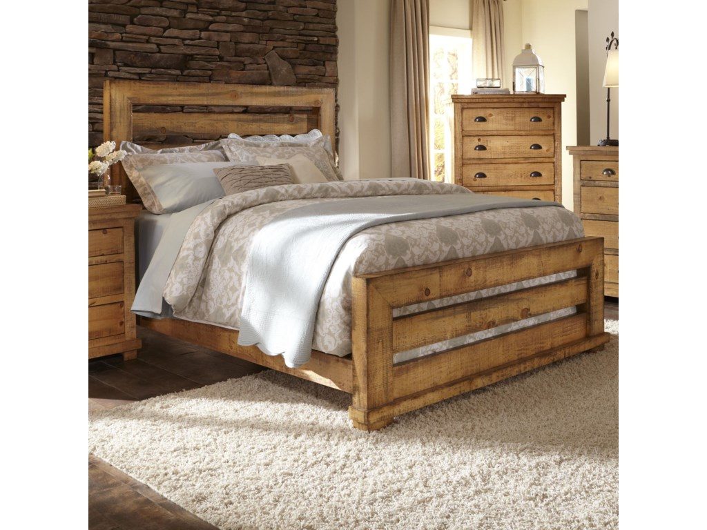 Progressive furniture willow queen slat bed with distressed pine frame