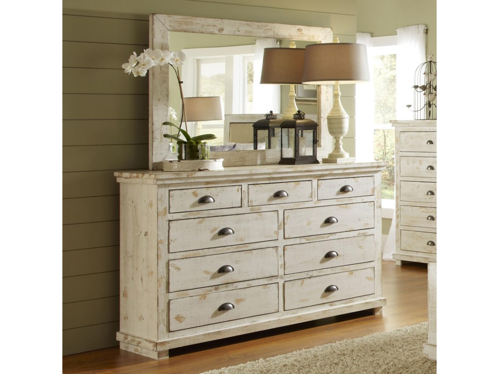 Progressive Furniture Willow Distressed Pine Drawer Dresser Mirror