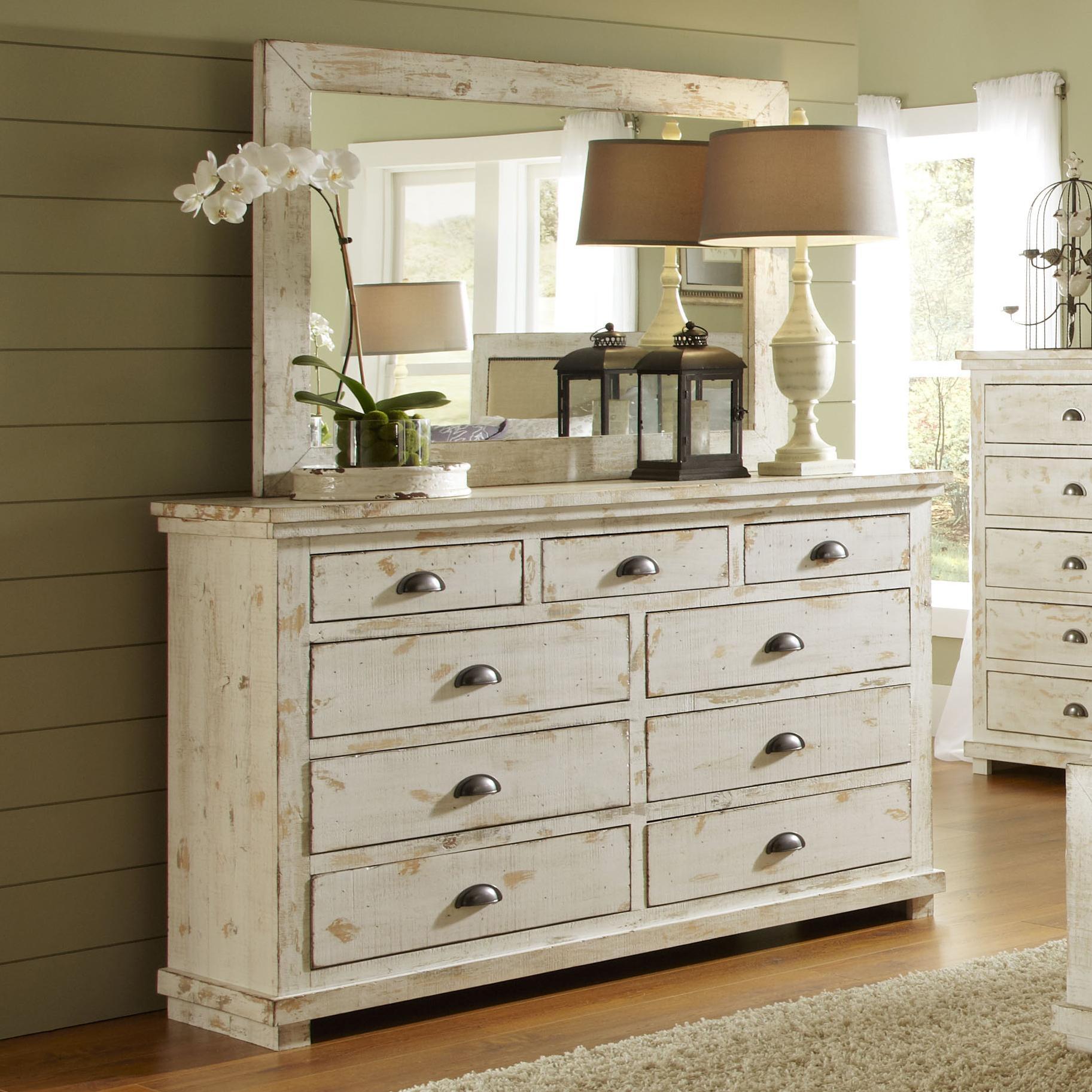 Progressive Furniture Willow Distressed Pine Drawer Dresser U0026 Mirror