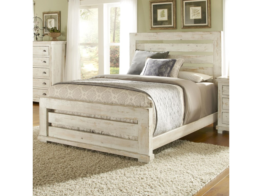 Progressive Furniture Willow King Slat Bed with Distressed Pine ...