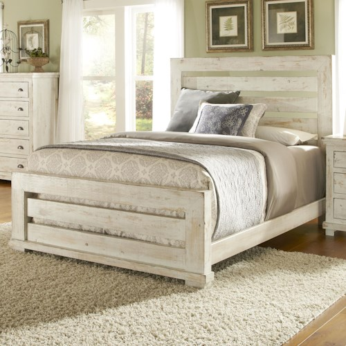 Progressive Furniture Willow King Slat Bed With Distressed Pine Frame Queen Size Shown