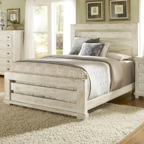 Progressive Furniture Willow California King Slat Bed with Distressed Pine Frame