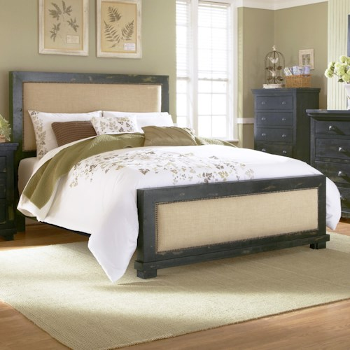 Progressive Furniture Willow Queen Upholstered Bed with Distressed Pine Frame