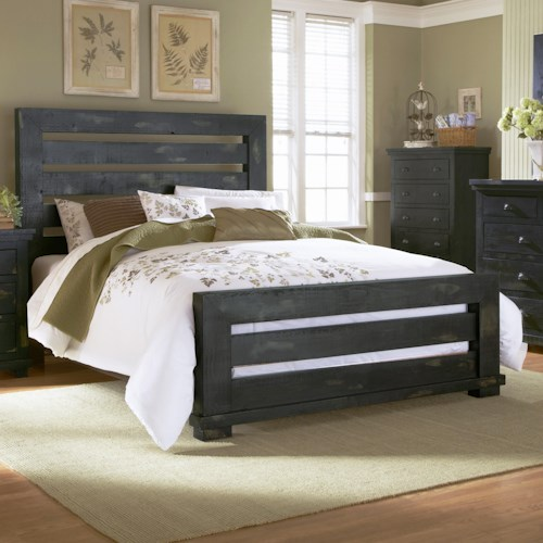 progressive furniture willow queen slat bed with distressed pine frame - Distressed Bed Frame