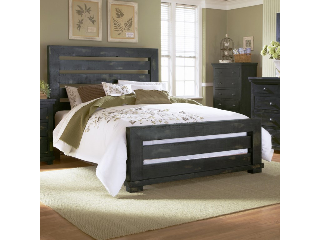 Progressive Furniture Willow King Slat Bed With Distressed Pine Frame