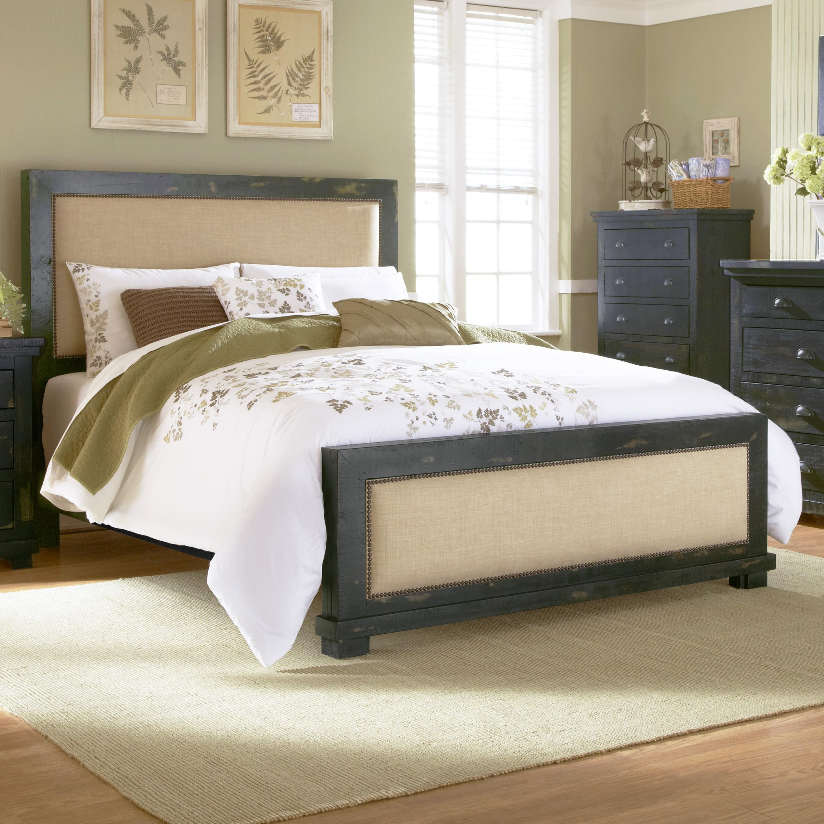 progressive furniture willow king upholstered bed with distressed pine frame