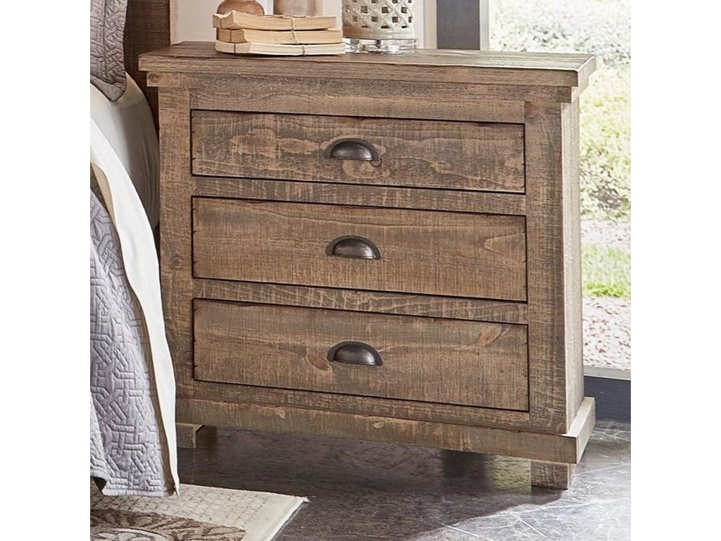 Progressive Furniture Willow Distressed Pine Nightstand Conlin S