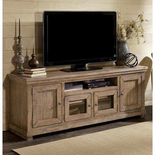 Progressive Furniture Willow Large 74 Distressed Pine Media Console Boulevard Home