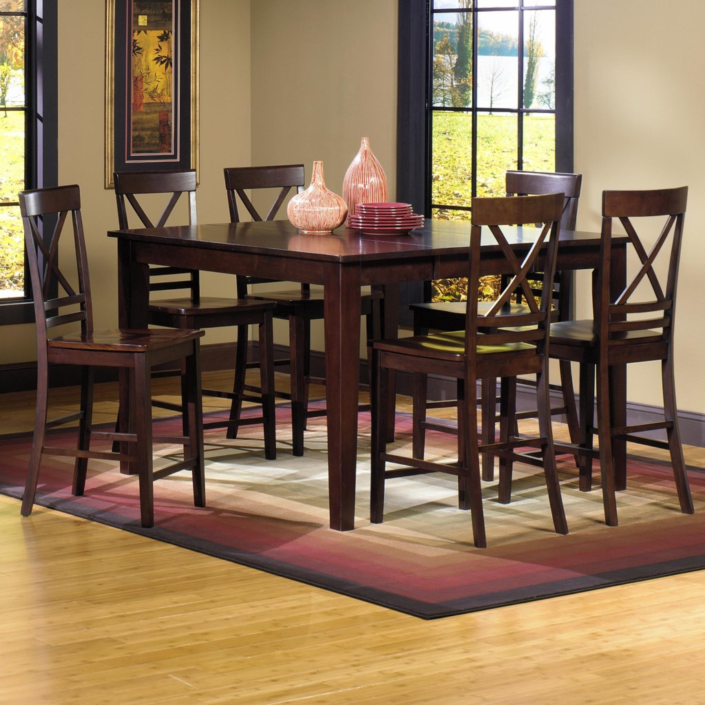 Progressive Furniture Winston 7 Piece Counter Dining Table With 18