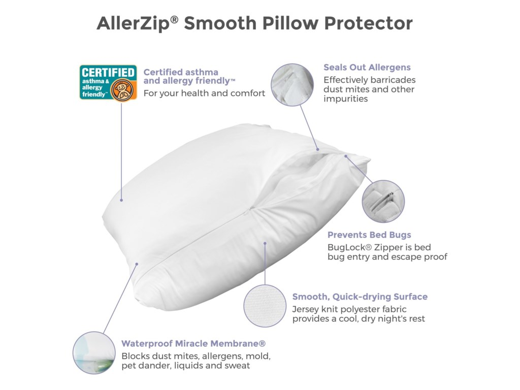 Protect-a-Bed AllerZip Smooth Pillow ProtectorKing Size Allergy Proof Pillow Cover, 2-Pac