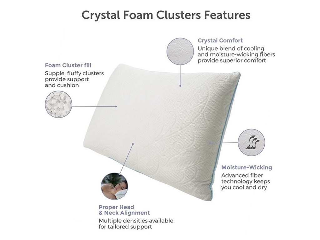 Protect-a-Bed Cluster Memory Foam Crystal PillowQueen Firm Cluster Memory Foam Pillow