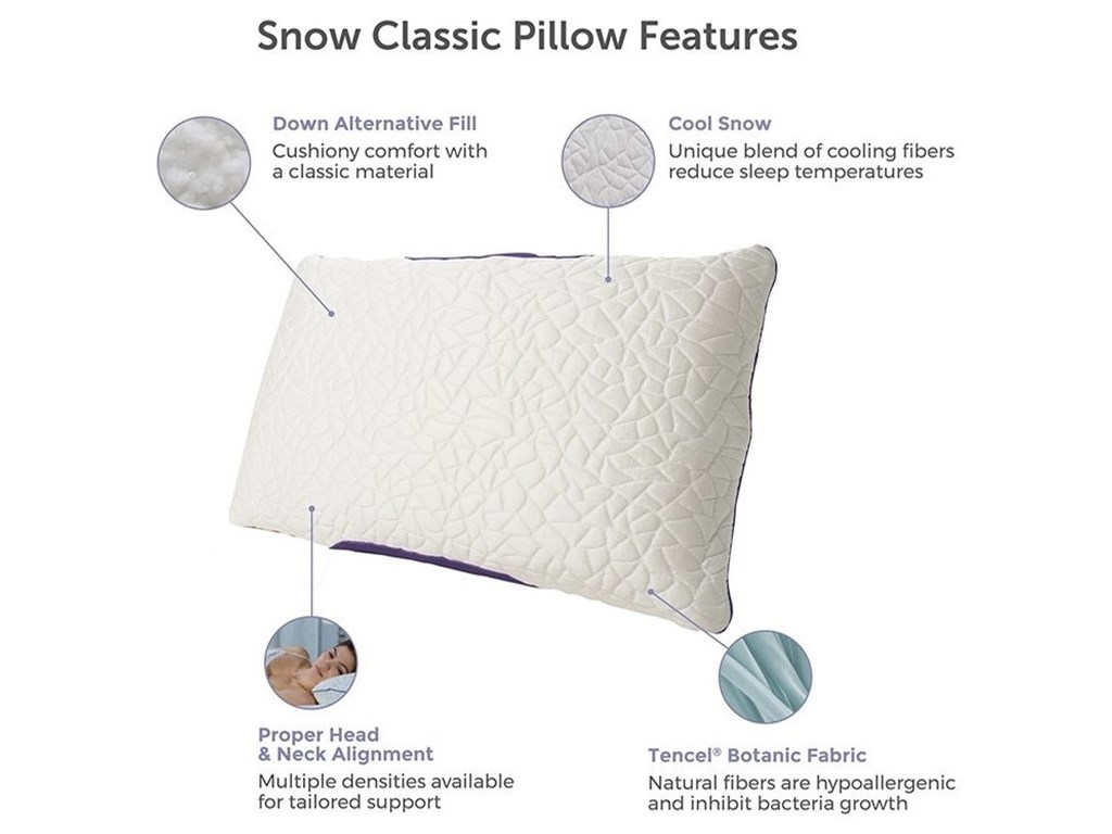 Protect-a-Bed Snow Classic Cooling PillowQueen FIRM Down Alternative Pillow