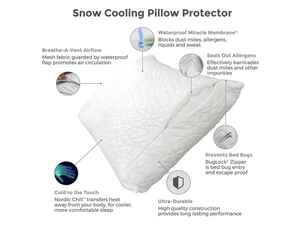 Protect-a-Bed Snow Cooling Pillow ProtectorQueen Snow Cooling Pillow Protector