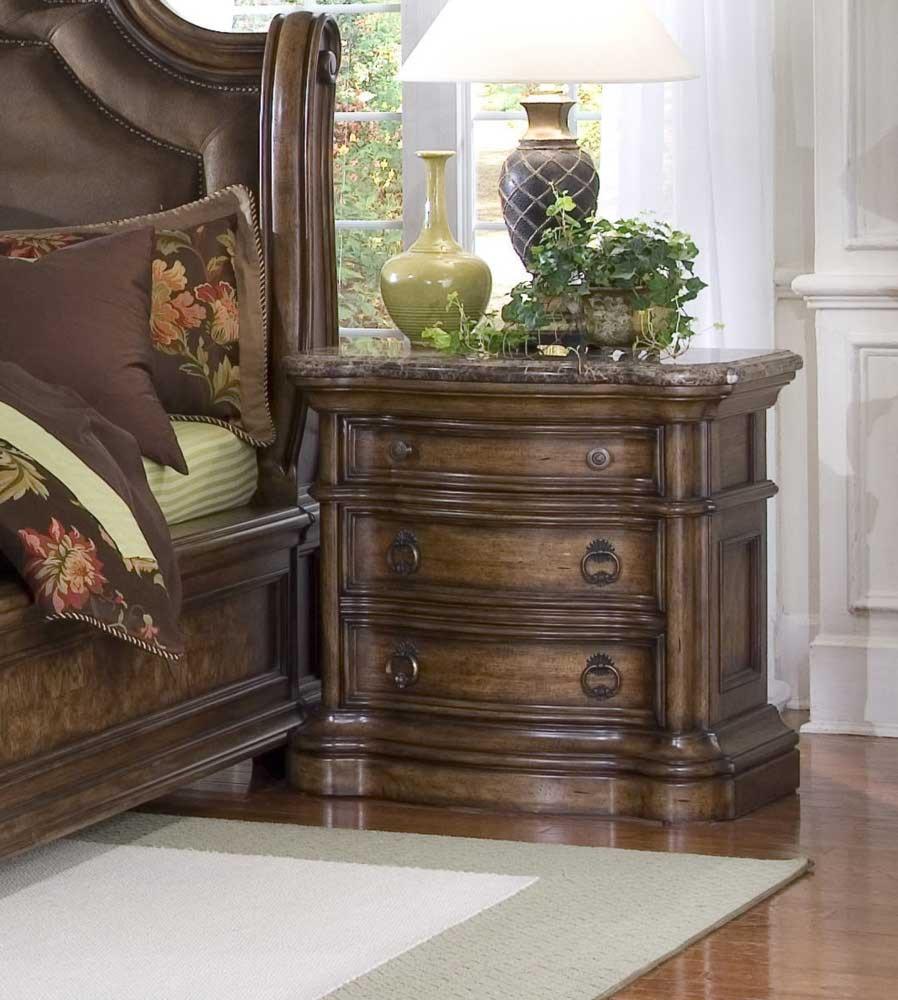 Pulaski Furniture San Mateo Three Drawer Marble Top Nightstand