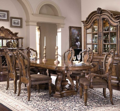 Pulaski Furniture San Mateo Seven Piece Double Pedestal Oval Top Dining Table And Chair Set