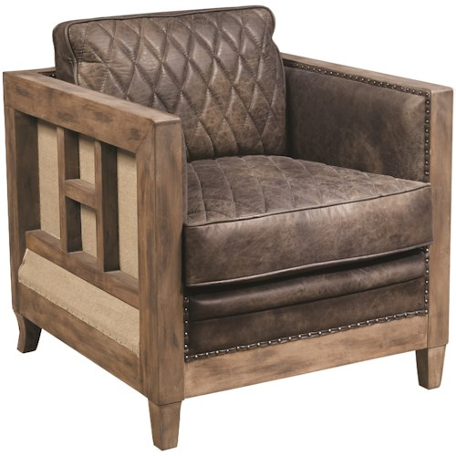 Pulaski Furniture Accent Chairs  Slater Chair with Quilted Leather Seat and Back