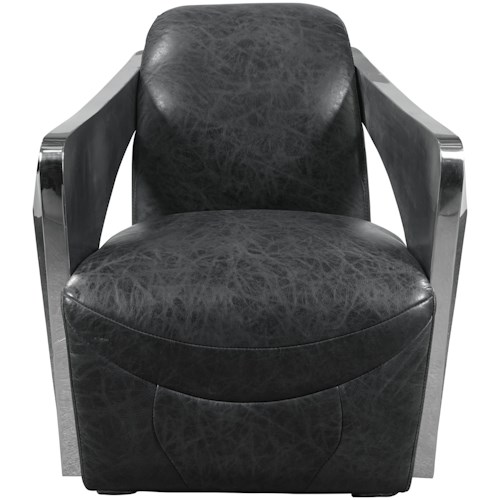 Pulaski Furniture Accent Chairs  Vince Chair with Stainless Steel Arms