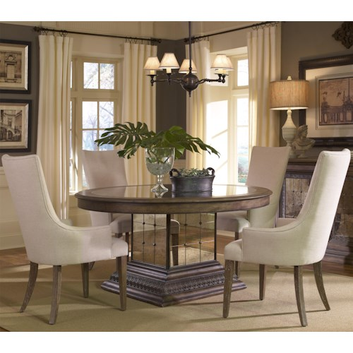 Pulaski Furniture Accentrics Home 5 Piece Aphrodite Table & Zona Arm Chair Set
