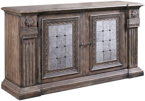 Pulaski Furniture Accentrics Home Alexandreah Credenza with 2 Antiqued Mirror Panel Doors