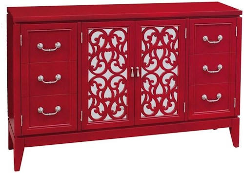 Pulaski Furniture Accents Randy Rouge Console with Fretwork Glass Doors