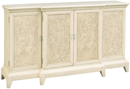 Pulaski Furniture Accents Meyer Console with Swirl-Pattern Panels