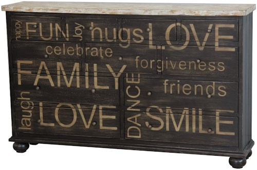 Pulaski Furniture Accents Harborview Credenza with Positive Words Motif
