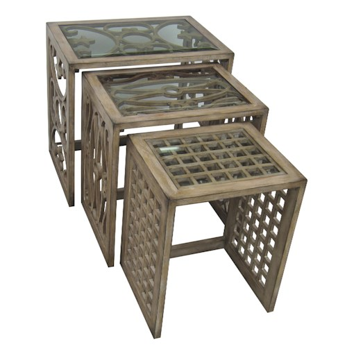 Pulaski Furniture Accents Traditional Nesting Tables w/ Beveled Glass Inserts