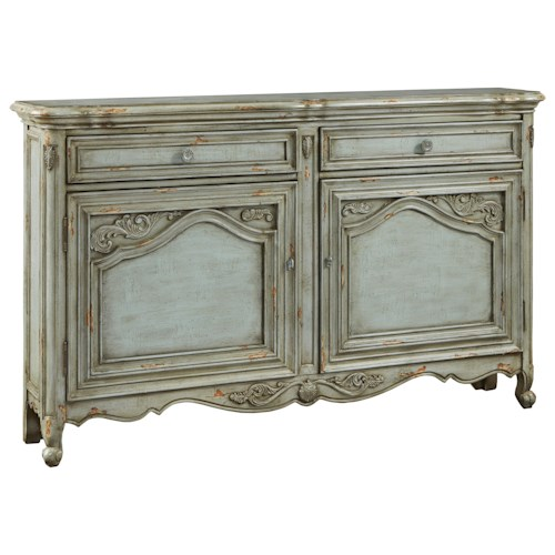 Pulaski Furniture Accents Russelle Credenza with Intricately Framed Doors