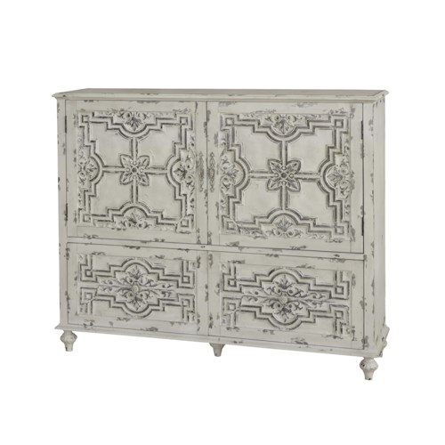 Pulaski Furniture Accents White Distressed Finish Credenza