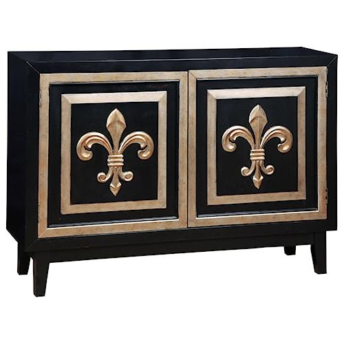 Pulaski Furniture Accents Fleur De Lis 2 Credenza with Silver Leaf Onlays