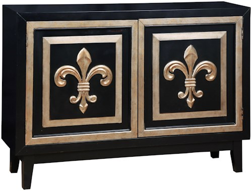 Pulaski Furniture Accents Fleur De Lis 2 Credenza with Silver Leaf Onlays