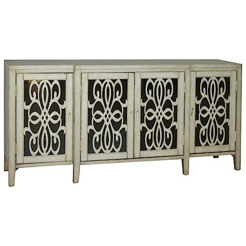 Pulaski Furniture Accents Tilda Credenza with Black Glass Paneled Doors