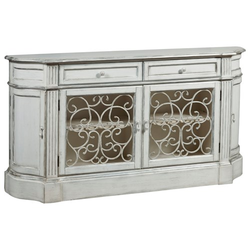 Pulaski Furniture Accents Ivory Credenza with Open Metal Grilled Doors
