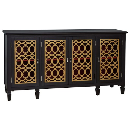 Pulaski Furniture Accents Imperial Sun Console with Gold Leaf Fretwork Grilles