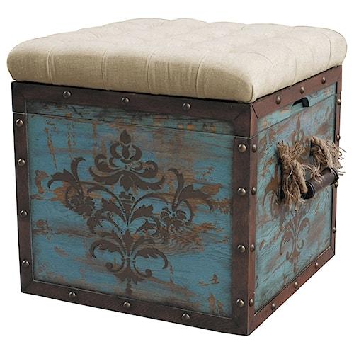 Pulaski Furniture Accents Lazuli Tufted Blue Crate Storage Ottoman